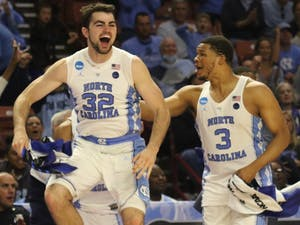 North Carolina forward Luke Maye (32) celebrates in the closing moments of the team's 39-point victory over Texas Southern in the first round of the NCAA Tournament in Greenville on Friday.