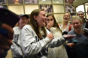 UNC junior Savannah Putnam reacts to winning the 2018 UNC Student Body President Election Tuesday night.