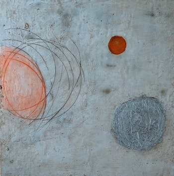 One of Lew Graham's encaustic works featured in the newly re-opened gallery in the FRANK center. Photo courtesy of the Frank Center.