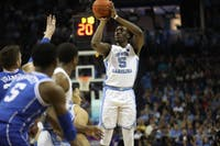 First-year forward Nassir Little (5) takes a shot against Duke during the semifinals of the ACC Tournament at the Spectrum Center in Charlotte, N.C. on Friday, March 15, 2019. UNC fell to Duke 73-74.
