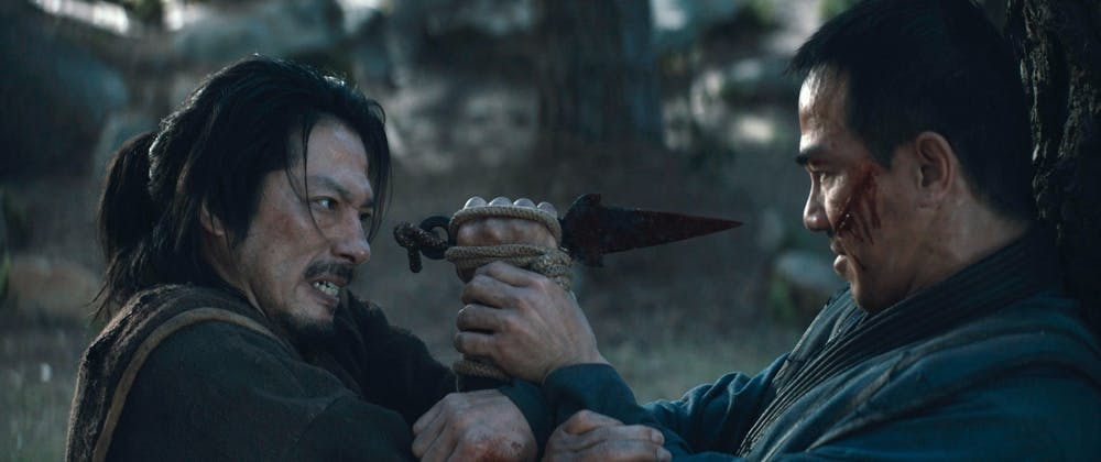 "Hiroyuki Sanada, left, as Scorpion/Hanzo Hasashi and Joe Taslim as Sub-Zero/Bi-Han in New Line Cinema's action adventure ""Mortal Kombat."" Photo courtesy of Warner Bros./TNS"