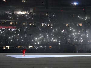 """Kanye West is seen at """"DONDA by Kanye West"""" listening event at Mercedes-Benz Stadium on July 22, 2021 in Atlanta, Georgia. Photo Courtesy of Paras Griffin/Getty Images for Universal Music Group."""