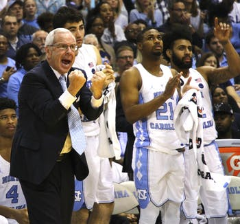 Roy Williams shouts from the bench during Saturday's game against Florida State.