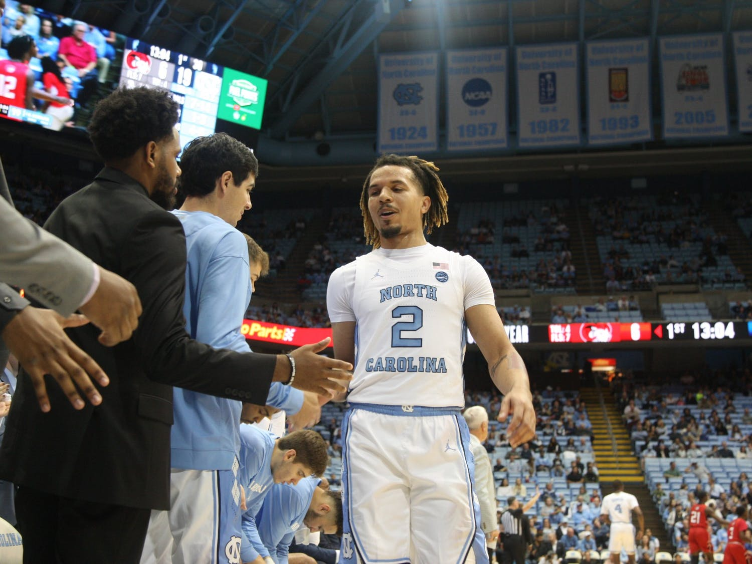 First-year guard Cole Anthony (2) daps up his teammates during the exhibition game against Winston Salem State in the Smith Center on Friday, Nov. 1, 2019. UNC beat WSSU 96-61.