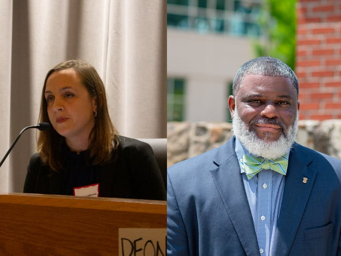 The Chapel Hill-Carrboro Board of Education members Jillian La Serna (left) and Deon Temne (right) were elected to serve as the board's new chairperson and vice chairperson respectively for 2021. Photos by Maya Carter and courtesy of Deon Temne.