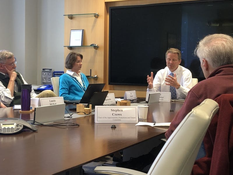 (From left to write) Chancellor's Advisory Committee members Vin Steponaitis, Joy Renner, Kevin Guskiewicz and Stephen Crews met Wednesday, March 27, 2019 to discuss new initiatives for the University, among other topics.