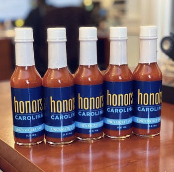 Honors students in the class of 2023 received branded hot sauce from Honors Carolina to welcome them into the program. Five leftover bottles were given away through an instagram competition.