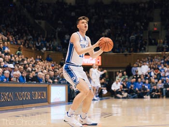 Duke's first-year forward Matthew Hurt (21) gains possesion of the ball during the game against Miami on Tuesday, Jan. 21, 2020 in Cameron Indoor Stadium. Duke beat Miami 89-59. Photo by Jackson Muraika, courtesy of The Chronicle.