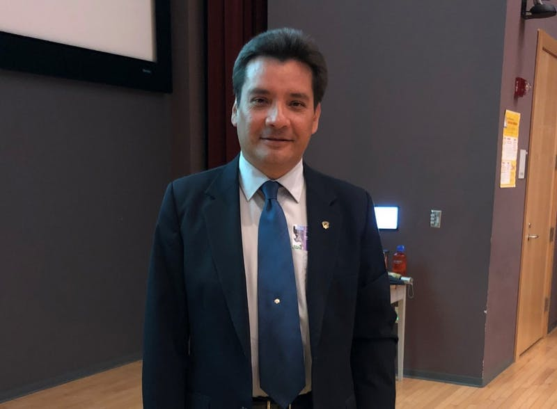 Edwin Castellanos, dean of research at Universidad del Valle de Guatemala, gave a lecture on the connections between climate change and emigration from Central America on Friday, Feb. 22, 2019.