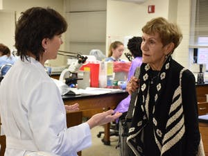 Genevieve Lowry Cole, 1954 graduate, with Laine Stewart, faculty in the Division of Clinical Laboratory Science. Photos by Elizabeth Poindexter, Courtesy UNC-Chapel Hill