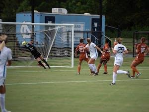 Senior goalkeeper Samantha Leshnak makes a save against No. 21 Texas during a 1-1 draw on Aug. 22 at Finley Field South.