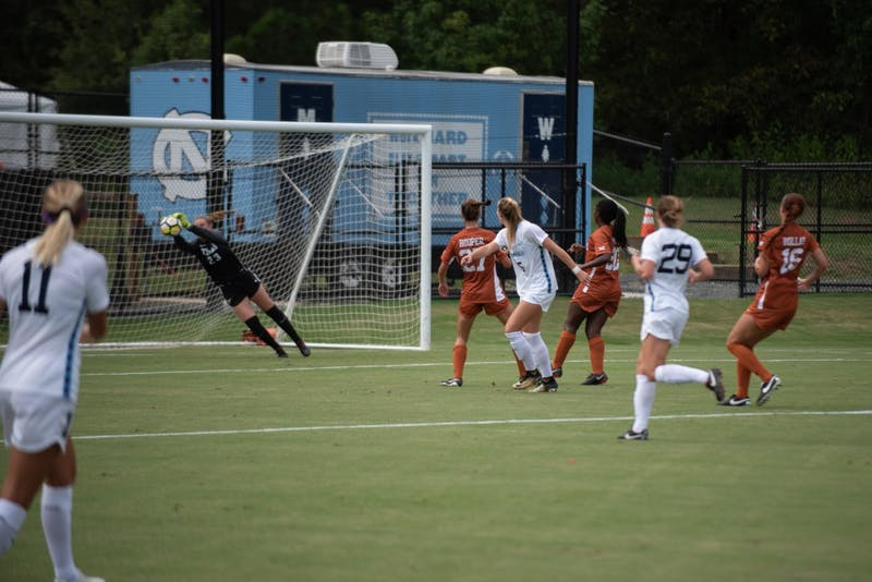 Senior goalkeeper Samantha Leshnak makes a save against No. 21 Texas during a 1-1 draw on Aug. 22 at Finley Field South.