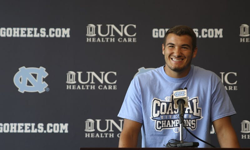Redshirt junior quarterback Mitch Trubisky speaks at the season opening press conference for UNC football.
