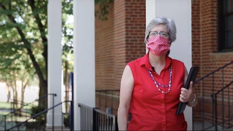 Carrboro Mayor Lydia Lavelle stands in front of Town Hall on Saturday, July 4, 2020 before welcoming viewers to the Town's annual reading of Frederick Douglass' speech, broadcasted virtually this year.