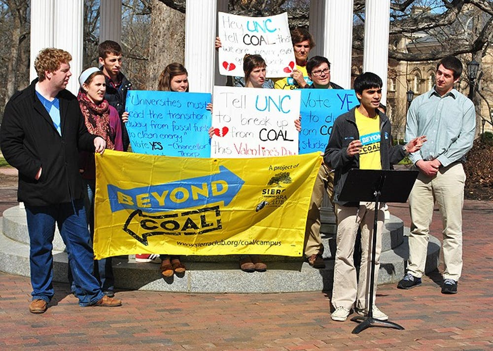 A press conference was held at the Old Well on Thursday the 14th. The group used this conference to speak out about pushing for coal divestment at UNC.
