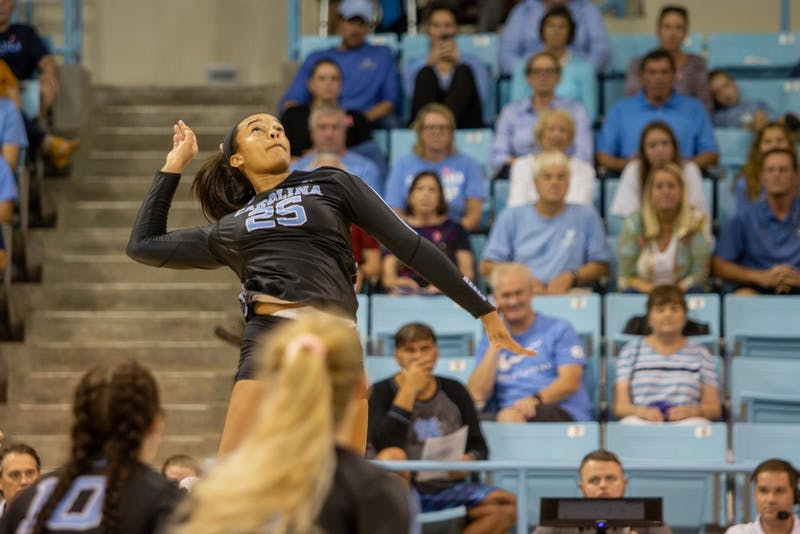 UNC freshman outside hitter Lauren Harrison (25) spikes the ball during the Tar Heels' 3-0 win against the Boston College Eagles on Sunday, Oct. 27, 2019 in Carmichael Arena in Chapel Hill. UNC beat Boston College 3-0.