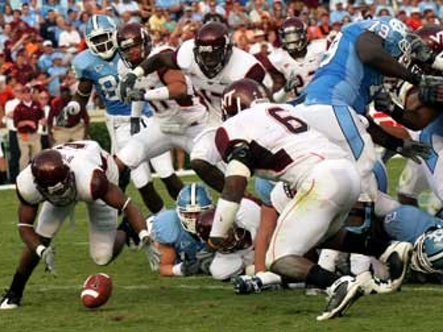 """Though Virginia Tech?s defense struggled early"""" the Hokies? unit shut down the Tar Heels when it mattered most.VT forced two North Carolina fumbles both of which Virginia Tech recovered. UNC now is 0-5 against the Hokies since the school joined the ACC in the 2004 expansion."""
