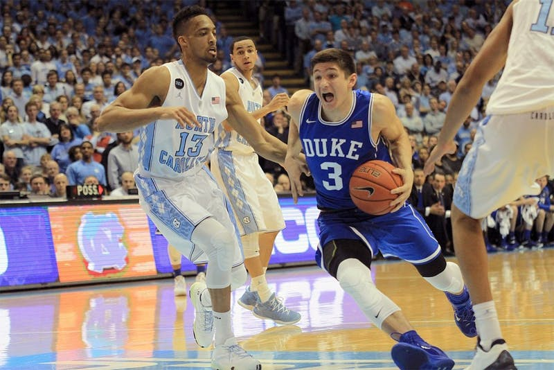 Duke guard Grayson Allen makes a move toward the basket during the March 7, 2015 UNC-Duke men's basketball game.