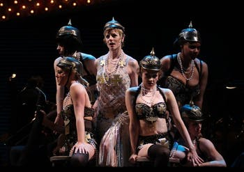 """Lisa Brescia (center) performs in Playmakers' Cabaret as Sally Bowles performing the number """"Mein Herr"""" with members of the cast."""