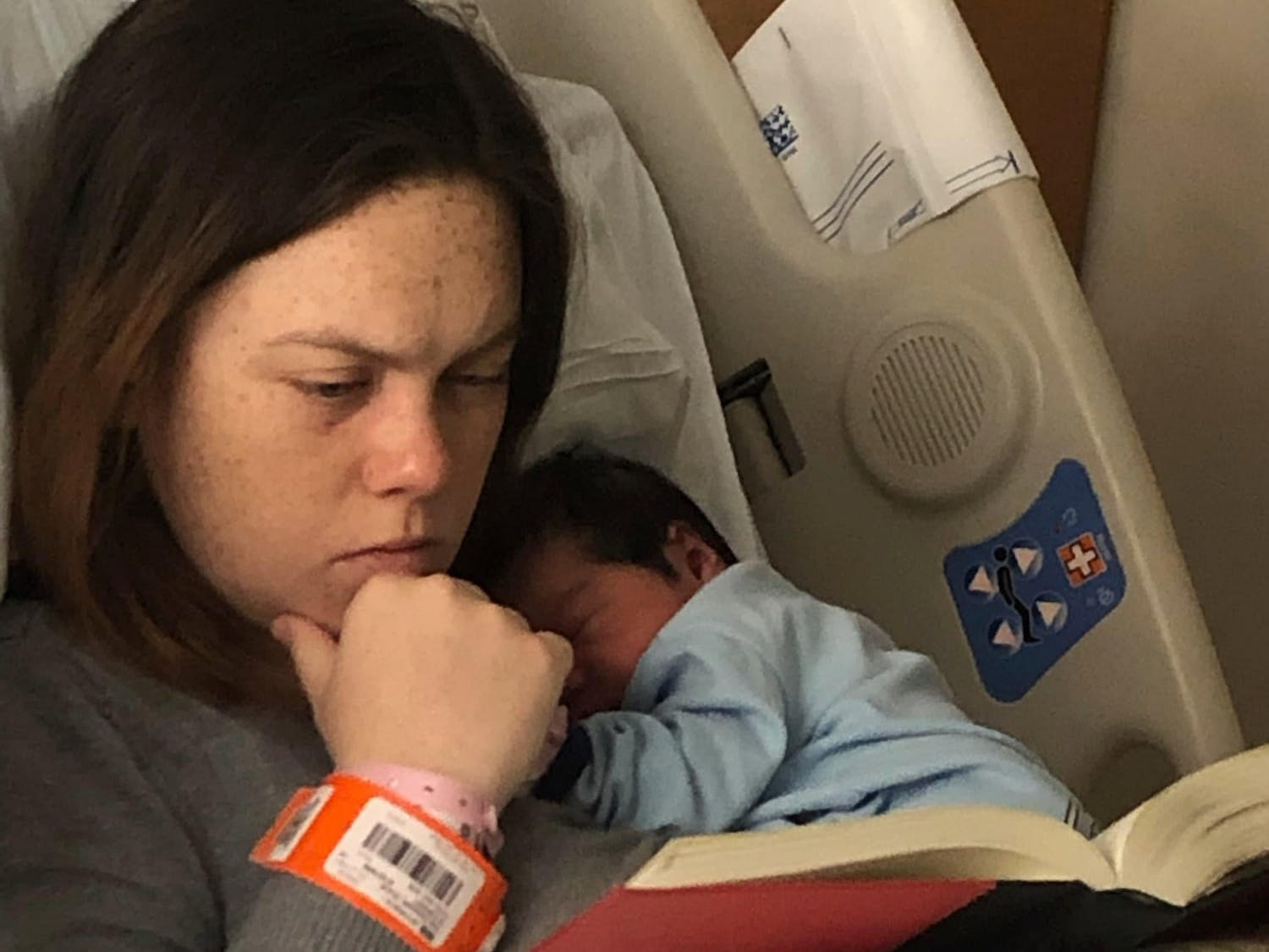 Elizabeth Sandoval studying with her daughter, Maria, shortly after she was born. Photo courtesy of Elizabeth Sandoval.