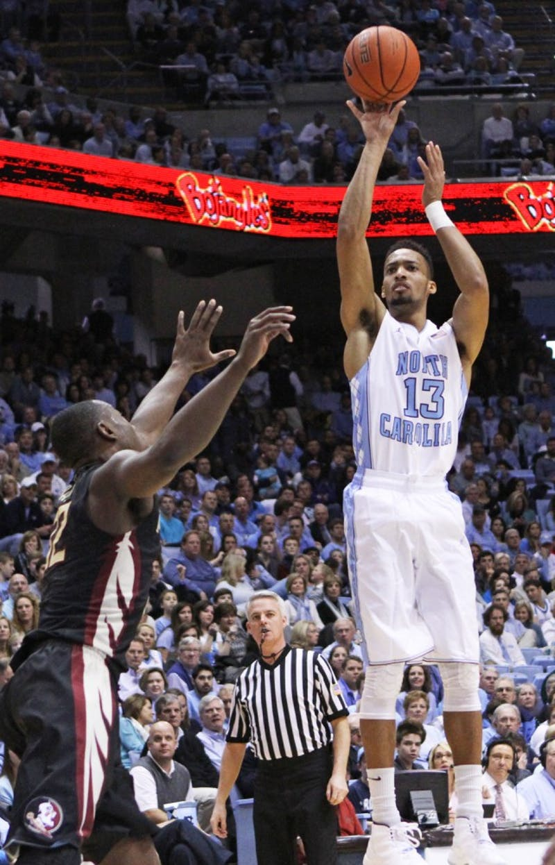 UNC junior forward J.P. Tokoto (13) shoots the ball.