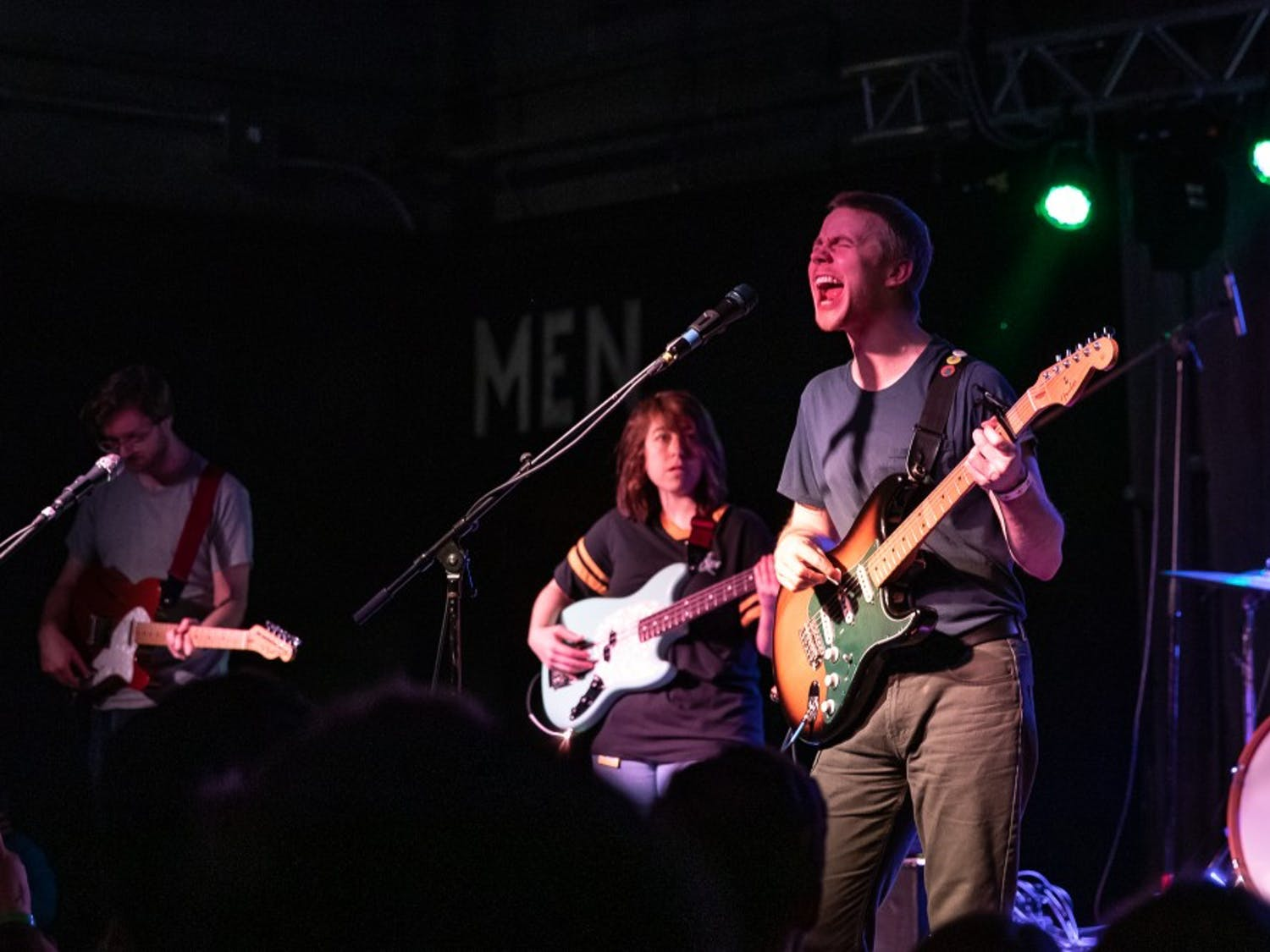 Lead vocalist Evan Stephens Hall (center) of Pinegrove performs with band members Sam Skinner (guitar), Megan Michelle Bird (bass), Zack Levine (drums), and Nick Levine (guitar) perform a song on the fourth night of their winter tour at The Blind Tiger in Greensboro, N.C. on Saturday, Feb. 23, 2019. Pinegrove began their winter tour following the release of their album, Skylight, which dropped on Sept. 28, 2018.