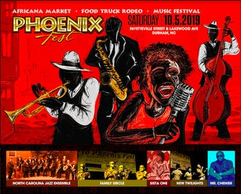 A graphic designed by Meldangraphix promoting Phoenix Festival 2019. Photo courtesy of Denise Hester.
