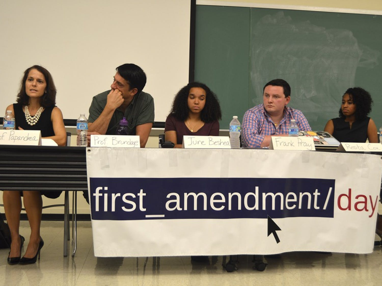 The Symbols of the South panel prepares to discuss different First Amendment issues, including Silent Sam, Saunders Hall, and the Confederate flag at First Amendment Day.
