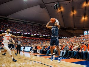 Duke's sophomore guard Tre Jones (3) shoots the ball during the game against Syracuse on Saturday, Feb. 1, 2020. Duke beat Syracuse 97-88. Photo by Henry Haggart, courtesy of The Chronicle.