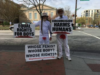 Protestors took to Franklin Street on Wednesday to discuss circumcision.