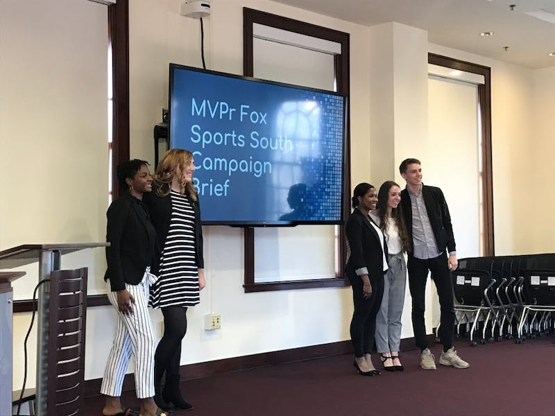 Students presented in MEJO 634 for the Fox Sports University program on Nov. 29, 2018 in Carroll Hall room 305.