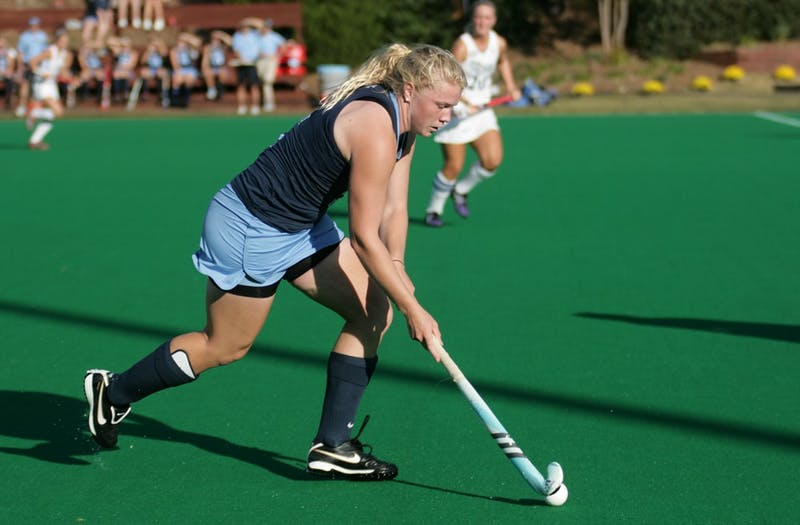 Charlotte Craddock, North Carolina's leading scorer, slid in the Tar Heels first goal in Sunday's win.