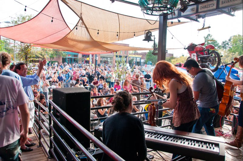 A Carrboro crowd listening to music during a previous Carrboro music festival. Photo courtesy of Scott Scala.