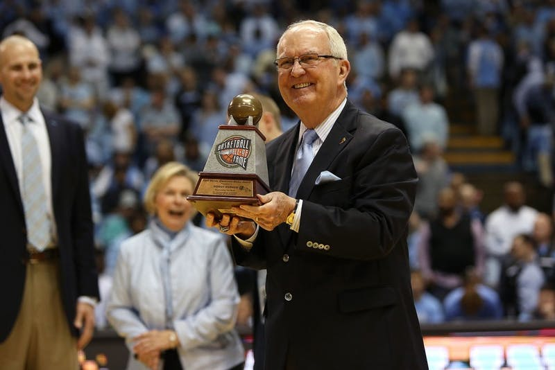 Woody Durham was honored during a halftime ceremony on Feb. 17, 2016, in the Smith Center.