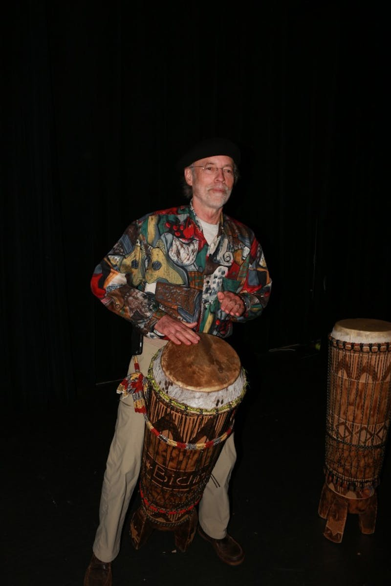 Orange County native and UNC alumnus Ken Wilson teaches an introduction to Congolese drumming at the Seymour Center, located on Homestead Rd. in northern Chapel Hill. He has been playing the Congolese drums for forty years as he loves the tradition, sound, and rhythm of these African drum.