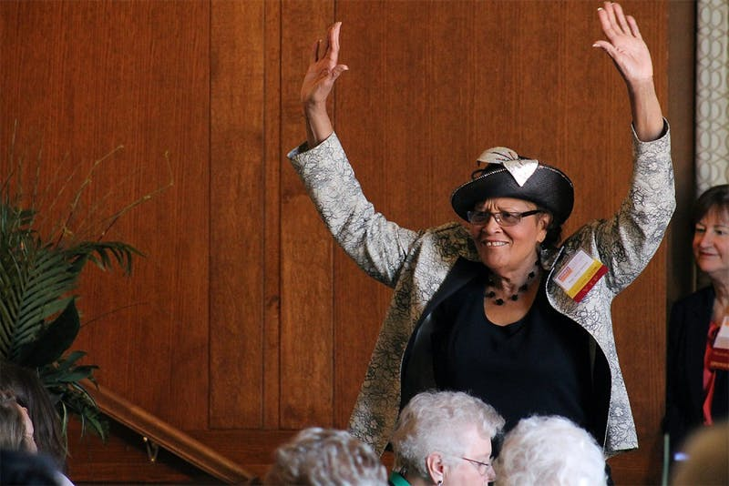 Rep. Alma Adams is introduced at the Lillian's List campaign luncheon Monday morning. The pro-choice, women's rights PAC hosted the event at the Alumni Center to announce it's sponsored political candidates.
