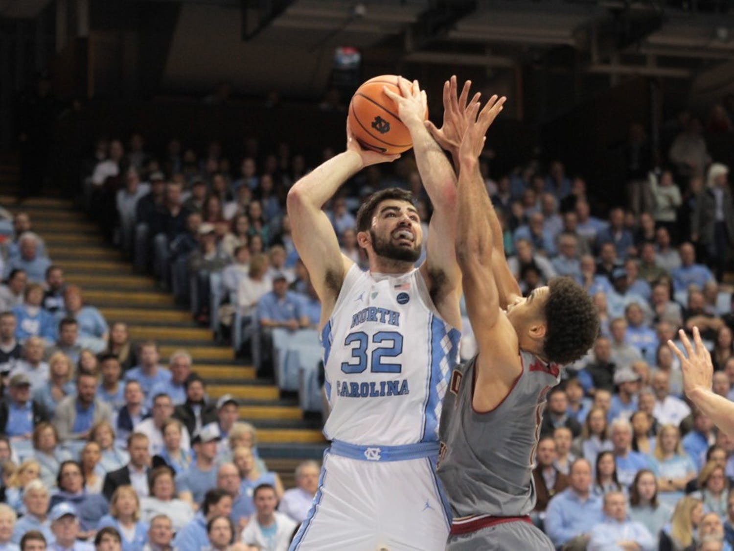 Forward Luke Maye (32) takes a shot against Boston College on Dec. 9 in the Smith Center. Maye finished with career highs in points (32) and rebounds (18).