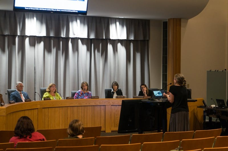 Chapel Hill citizen Kim Piracci delivers a passionate call for climate action on behalf of the town council, regardless of financial concerns, at the Town Council meeting on Wednesday, Sept. 25th, 2019.