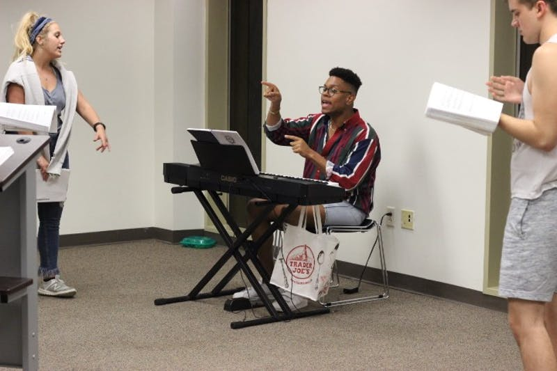 Phillip Riddick runs rehearsal for the cast of Godspell. Riddick is directing the upcoming Company Carolina production which opens on Nov. 1, 2018.