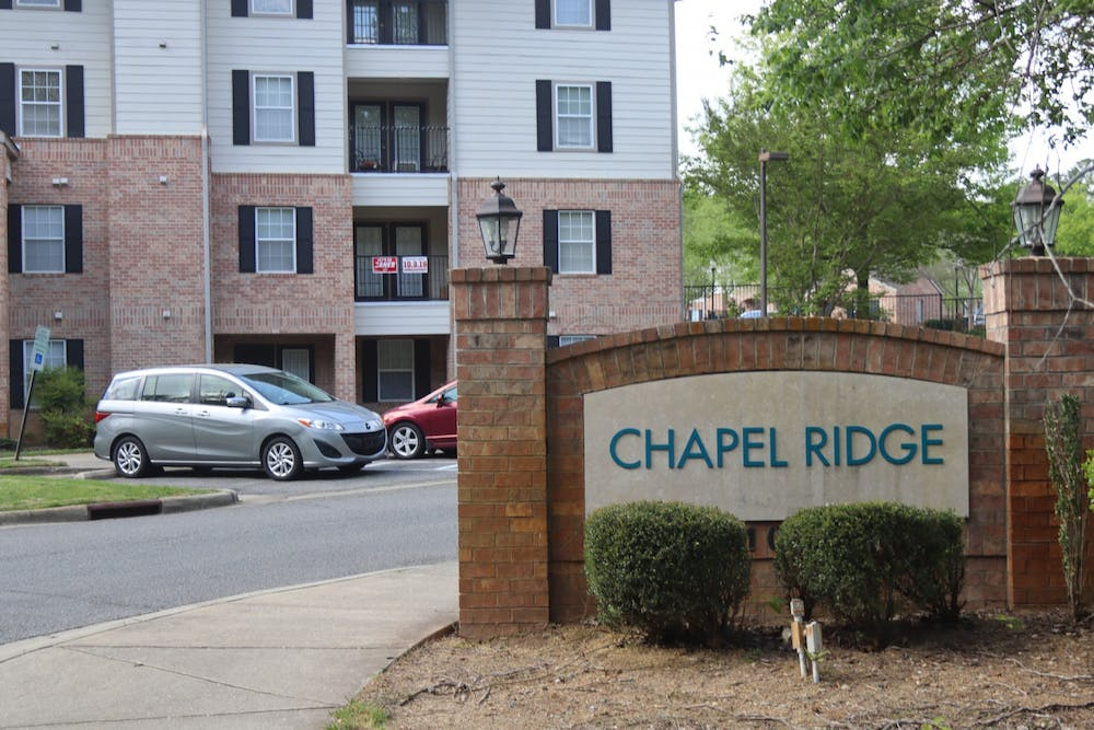 <p>Chapel Ridge Apartments is an off-campus apartment complex where many UNC students live.</p>