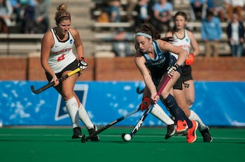 Sophomore forward Erin Matson (1) dribbles the ball towards the goal during the NCAA Championship Game against Princeton University at Kentner Stadium on Sunday, Nov. 24, 2019. UNC won 6-1, marking their 8th national championship.