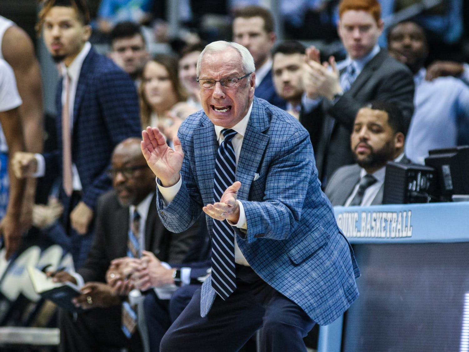 UNC's men's basketball coach Roy Williams cheers from the sidelines during a game against Clemson at the Smith Center on Saturday, Jan. 11, 2020. Clemson defeated UNC for the first time in Chapel Hill 79-76.
