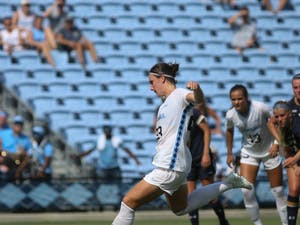 UNC defender Lotte Wubben-Moy (23) shoots a penalty kick in the final minutes of the soccer game against the Notre Dame Fighting Irish on Sunday, Sept. 29th, 2019 at Dorrance Field. The Tar Heels beat the Fighting Irish 3-0 to advance to a 10-1 record on the season.
