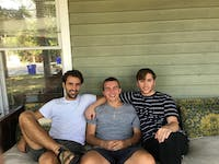 From left, graduate student João Ritter sits with Roof founders Tomas Roy, junior,and Teddy Wilson, a UNC senior. Courtesy of João Ritter.