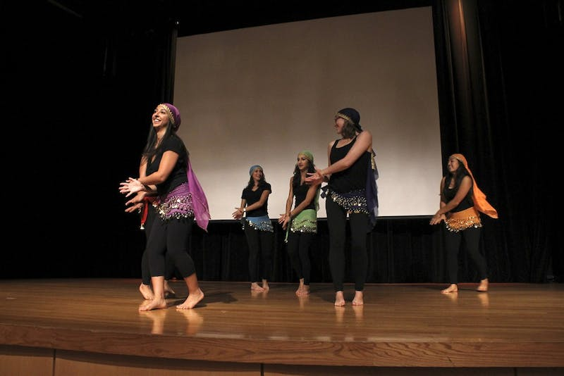 "The Persian Cultural Society dance team performs at ""1,001 Nights,"" an event hosted by the society Thursday allowing students to explore Middle Eastern culture."
