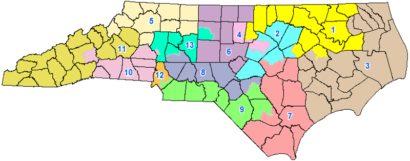 The congressional district plan was enacted on Feb. 19, 2016. It was drawn in response to a ruling by the U.S. District Court for the Middle District of North Carolina. Photo courtesy of the N.C. General Assembly.