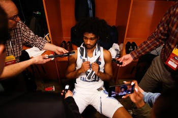 UNC first-year guard Coby White (2) answers reporters following UNC's 97-80 loss against Auburn University in the Sweet 16 round of the 2019 NCAA Tournament at the Sprint Center in Kansas City, M.O. on Friday, March 29, 2019. White shot 0-7 on three-pointers, ending his season with a 15-point game.