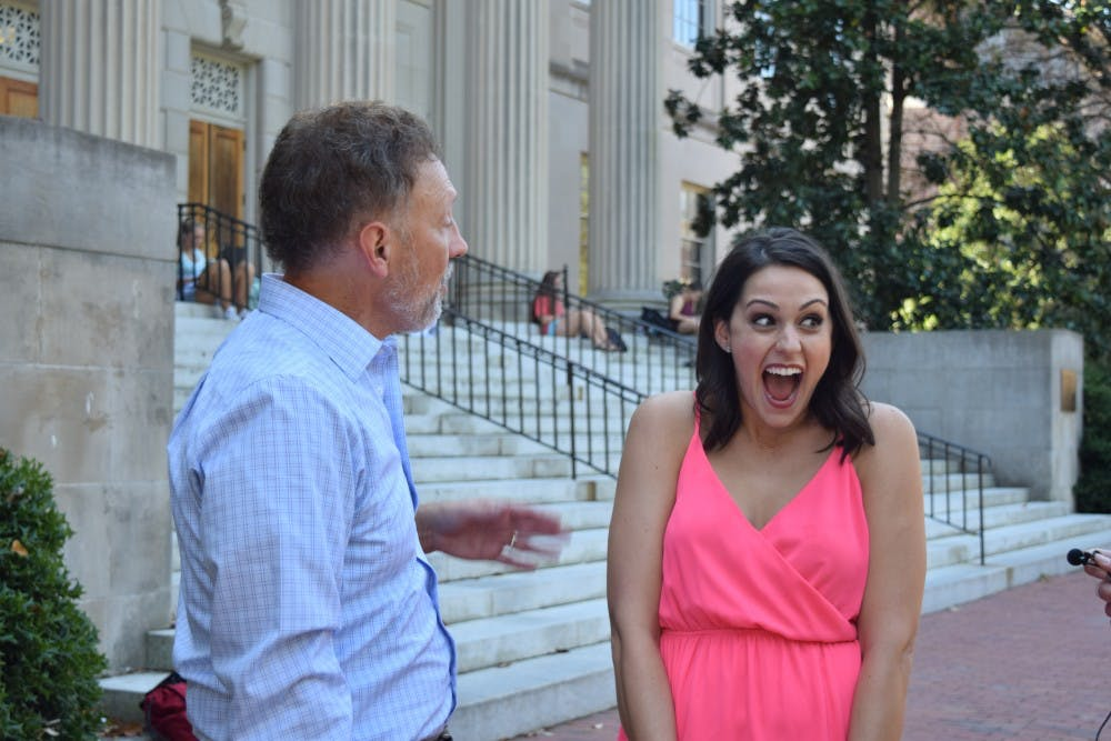 """<p>Actress Kelen Coleman is surprised by her former professor, Jeff Cornell, while on campus promoting her new show — """"Me, Myself, and I.""""</p>"""