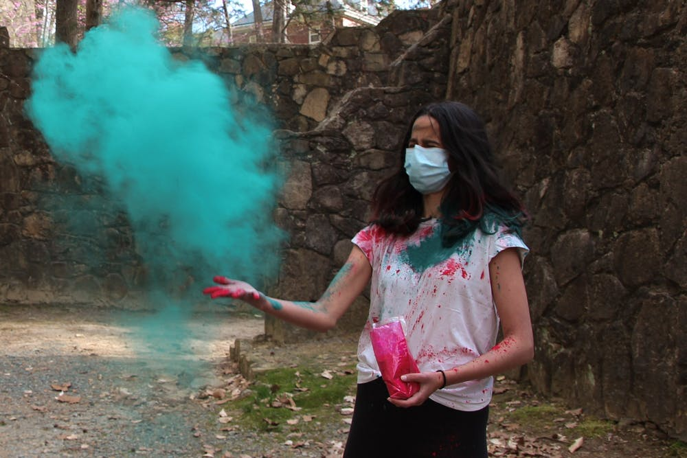 Alisha Kelkar celebrates a late Holi with friends on Thursday, April 1, 2021.