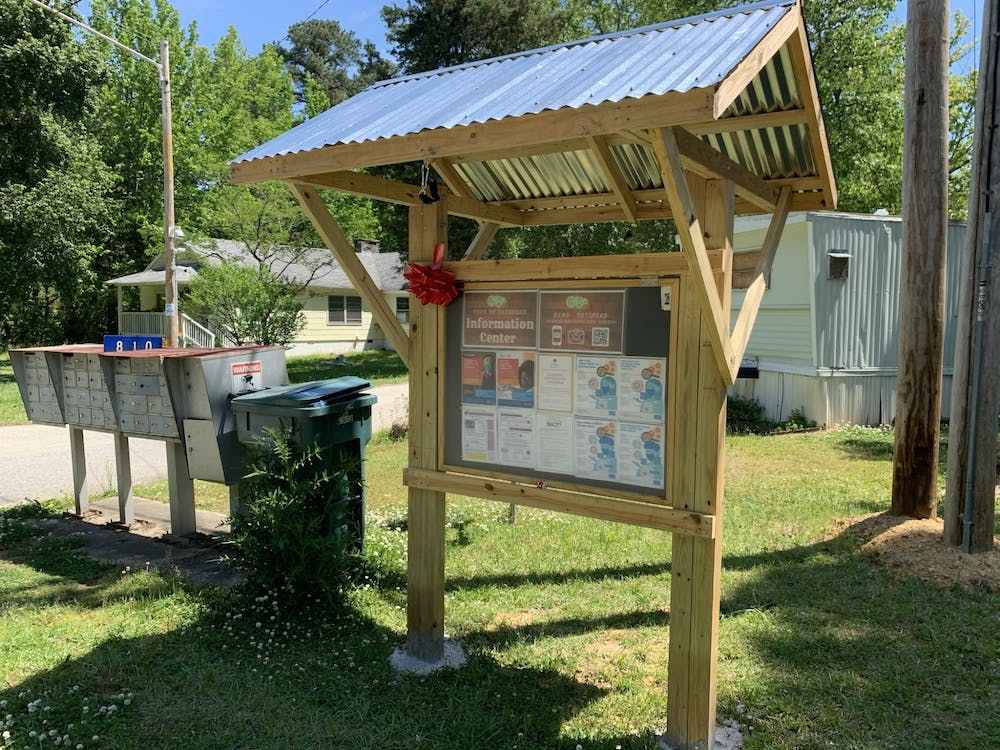 <p>Carrboro won an Award of Excellence for installing Town Information Centers in locations like Pine Grove. Photo courtesy of Town of Carrboro/Catherine Lazorko.</p>